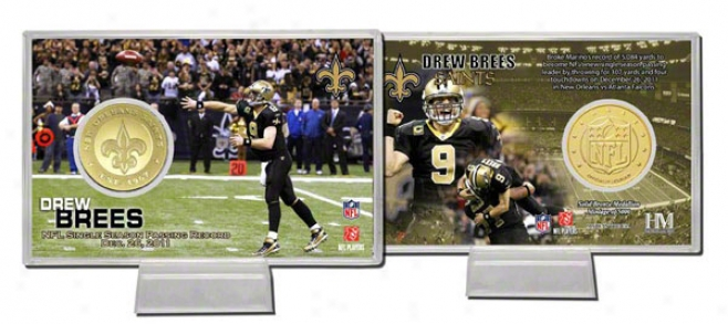 Drew Brees New Ofleans Saints Single Season Passing Record Coin Card