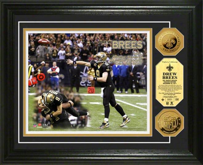 Drew Brees New Orleans Saints Single Season Passing Record Photo Mint