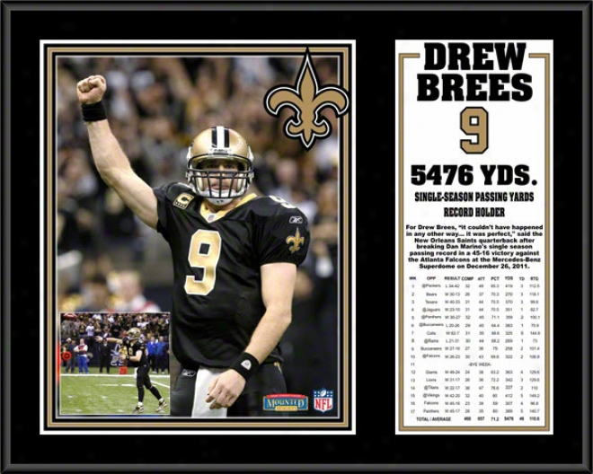 Drew Brees Sublimated 12x15 Plaque  Details: New Orleans Saints ,Season Passing Leqder