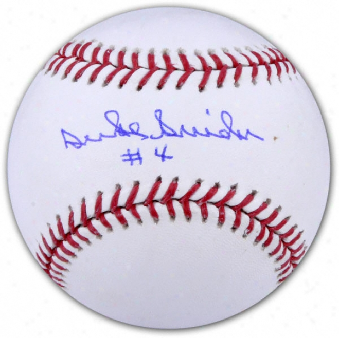 Duke Snider Autographed Baseball  Details: #4 Inscription