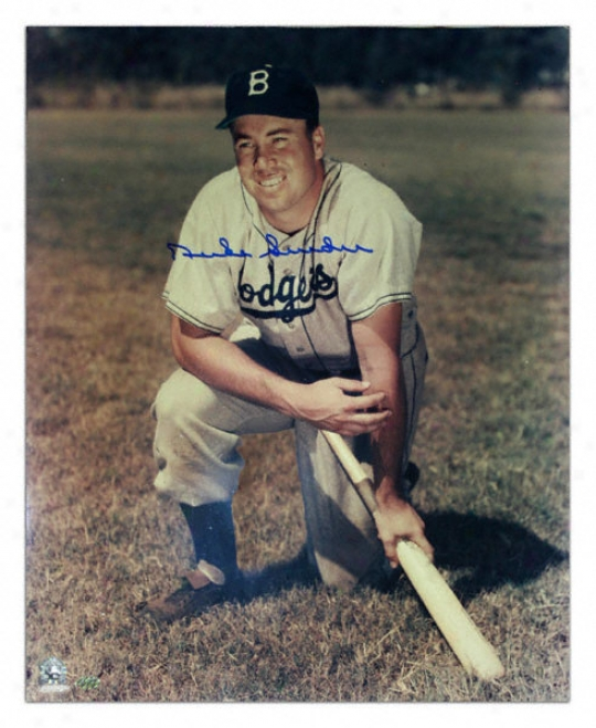 Duke Snider Los Angeles Dodgers - Kneeling On Bat - 16x20 Autographed Photograph