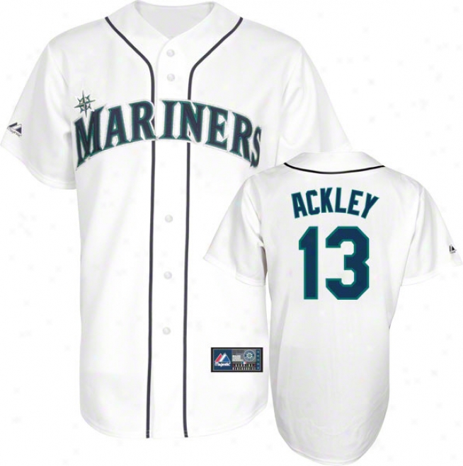 Dustin Ackley Jersey: Adult Majestic Home White Autograph copy #13 Seattle Mariners Jersey