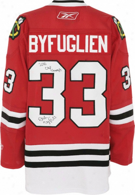Dustin Byfuglien Autographed Jersey  Details: Chicago Blackhawks, Red