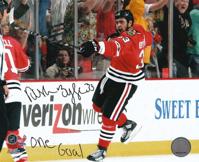 Dustin Byfuglieh Chicago Blackhawks - Celebration - Autographed 8x10 Photograph With One Goal Inscription
