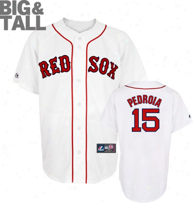 Dustin Pedroia Big & Tall Jerseu: Adult Home White Replica #15 Boston Rd Sox Jersey