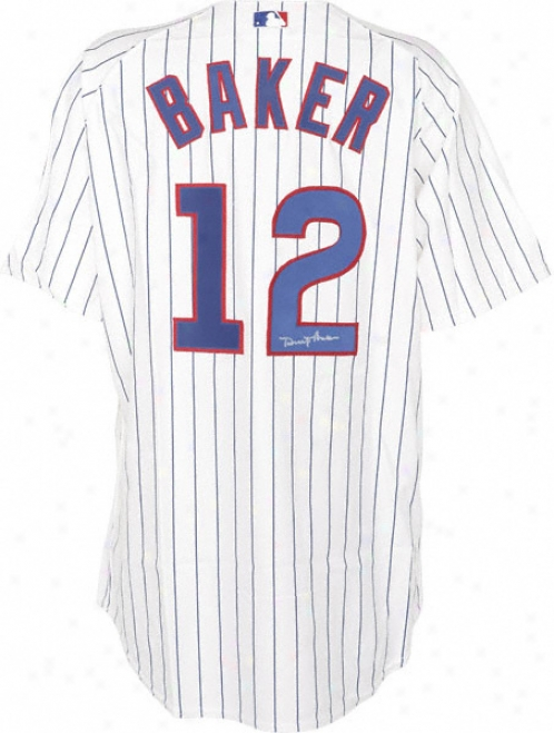 Dusty Baker Chicago Cubss Autographed Majestic Athletic Authentic Home Jersey