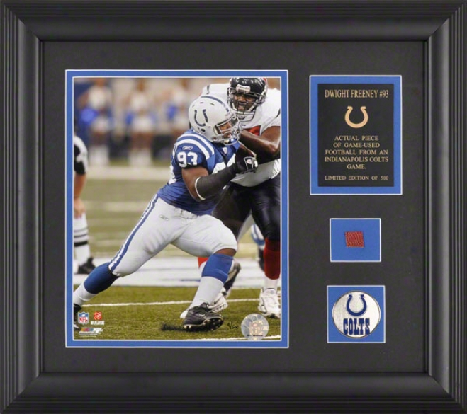 Dwigth Freeney Indianapolis Colts Framed 8x10 Photograph With Made of ~ Used 2005 Football Piece And Medallion