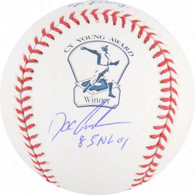 Dwight Gooden Autographed Cy Young Logo Baseball  Details: 85 Nl Cy Inscription