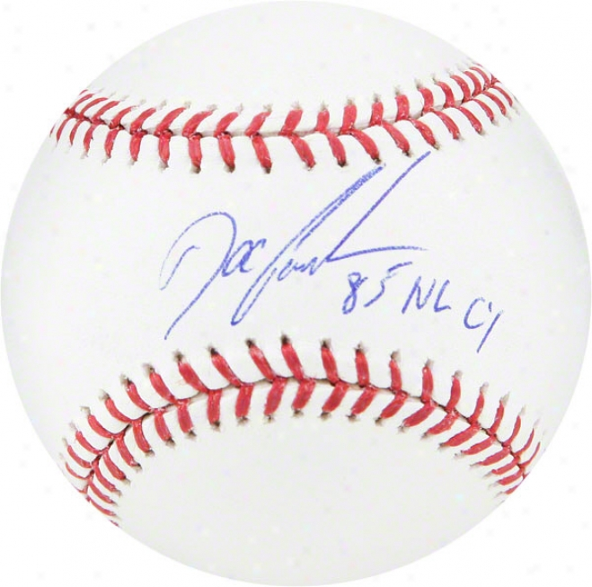 Dwight Gooden Autographed Cy Young Logo Baseball  Details: 85 Cy Inscription, On The Sweet Spot