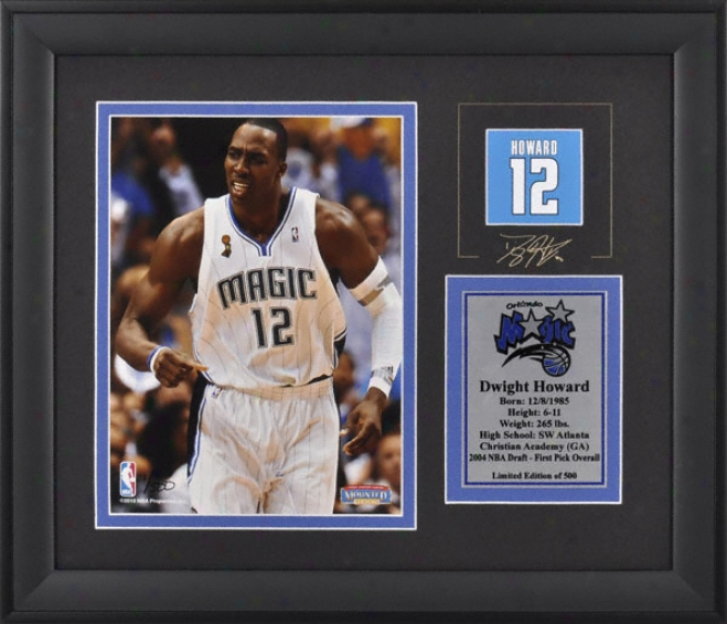 Dwight Howard Orlando Magic Framed 6x8 Photograph With Facsimile Signature And Plate - Limited Edition Of 500