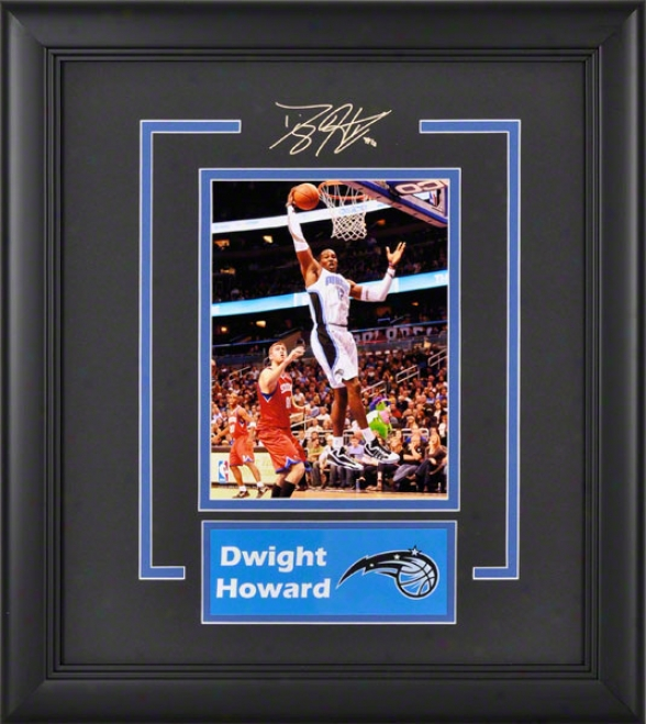 Dwight Howard Orlando Magic Framed 6x8 Photograph With Facsimile Signature Annd Lamina