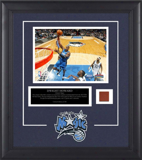 Dwight Howard Orlando Magic Framed 8x10 Photograph With Game Used 2010 All Star Game Basketball Piece And Descriptive Plate