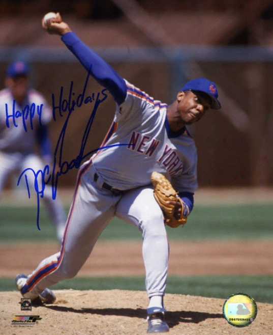 Dwight &quotdoc&quot Gooden New York Mets Autographed Pitching 8x10 Photograph With Happy Holidays Inscription
