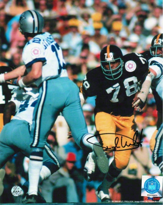Dwight White Pittsburgh Steelers Autographed 8x10 Photo Rushing Staubach