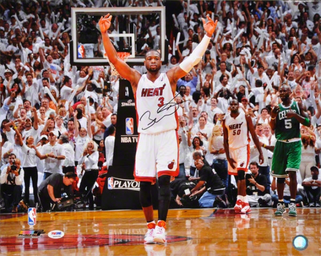 Dwyane Wade Autographed 16x20 Photograph  Details: Miami Heat, Vs Boston Celtics