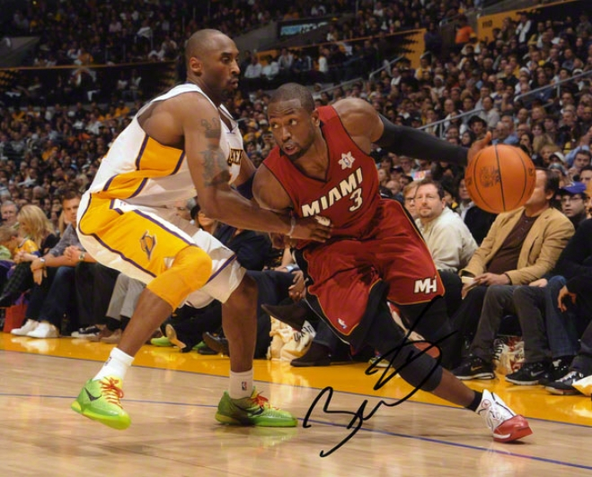 Dwyane Wade Autographed 8x10 Photograph  Details: Miami Heat, Vs. Kobe Bryant, Horizontal