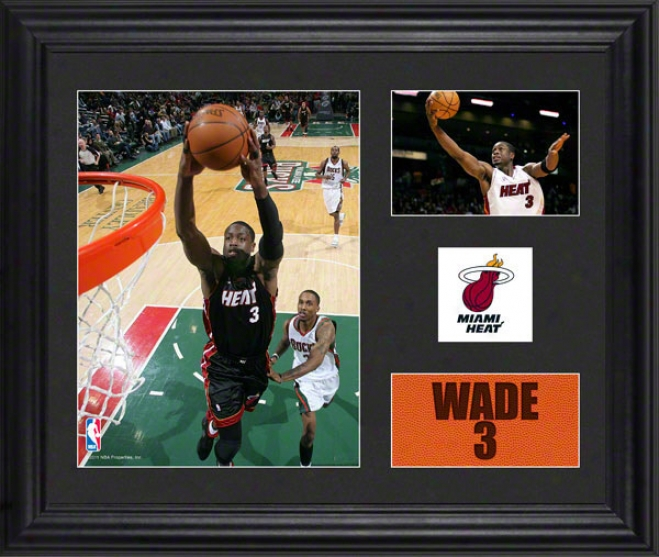 Dwyane Wade Framed 2- Photograph Collage  Details: Miami Heat, Team Logo