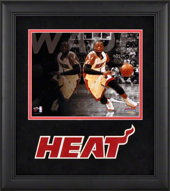 Dwyane Wade Framed Photograph  Details: 8x10, Reflections, Miami Heat Team Logo