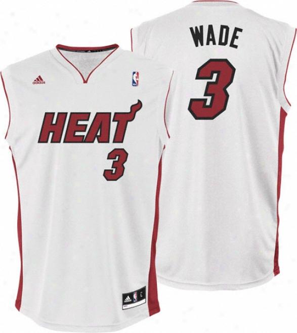 Dwyane Wade Jersey: Adidas Revolution 30 White Autograph copy #3 Miami Heat Jersey