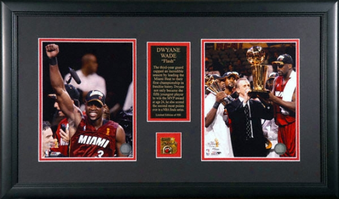 Dwyane Wade Miami Heat -2006 Nba Champions- 2 8x10 Framed Photographs With Medallion And Plate