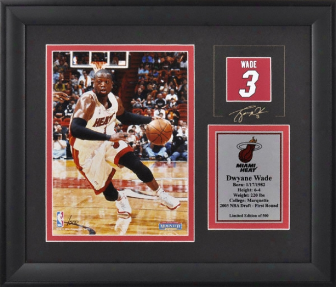 Dwyane Wade Miami Warm Framed 6x8 Photograph With Facsimile Signature And Plate - Limited Edition Of 500