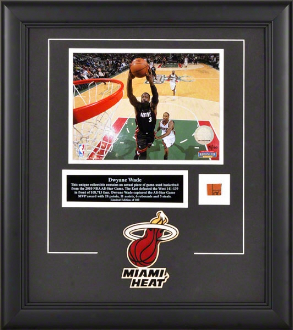 Dwyane Wade Miami Heat Framed 8x10 Photograpph With Game Used 2010 All Star Game Basketball Piece And Deacriptive Plate