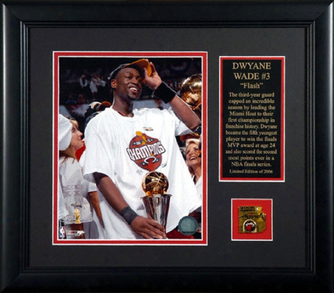 Dwyane Wade Miami Heat Framed 8x10 Photograph With Mesallion And Dish