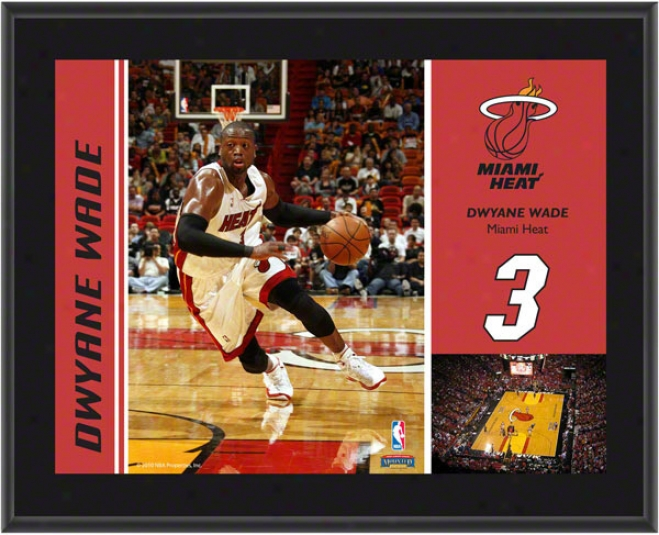 Dsyane Wqde Plaqud  Details: Miami Heat, Sublimated, 1x13, Nba Plaque