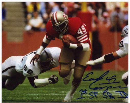 Earl Cooper San Francisco 49ers Autographed 8x10 Photograph Through  1st San Francisco Sb Td Inscription