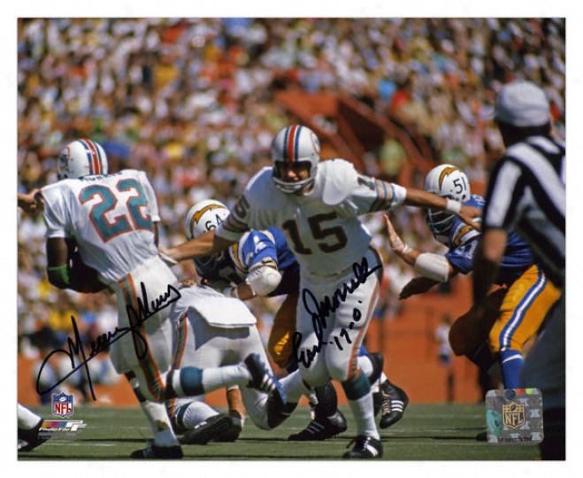 Earl Morrall And Mercury Morris Miami Dolphins - Handoff - Autographed 8x10 Photograph With 17-0 Inscription