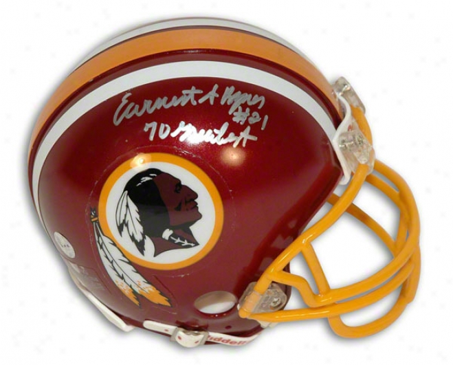 Earnest Byner Autographed Washington Resskin sMini Helmet Insctibed &quot70 Greatest&quot