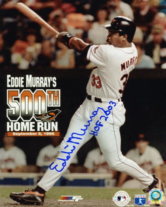 Eddie Murray Baltimore Orioles 500th Home Run 8x10 Autographed Photograph