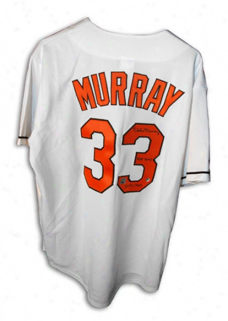 Eddie Murray Baltimore Orioles Autographrd Wnite Majestic Jersey With Triple Inscriprion