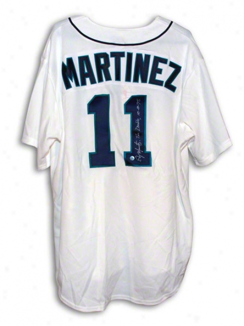 Edgar Martinez Seattle Mariners Autographed White Majestic Throwback Jersey Inscribed The Double 10895