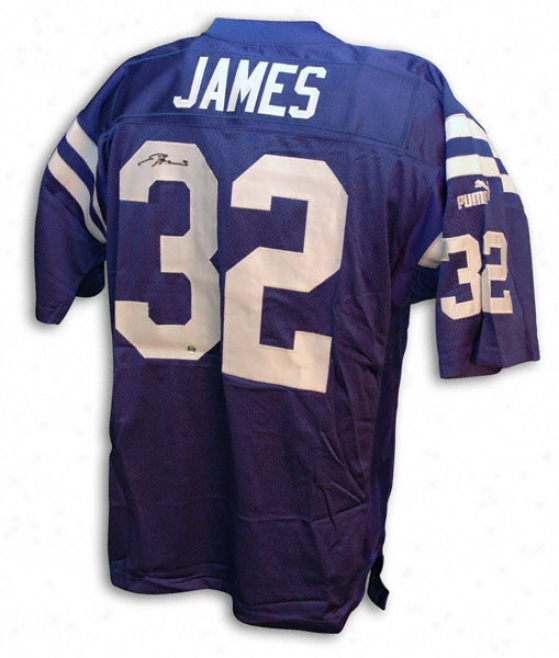Edgerrin James Autographed Puma Blue Jersey