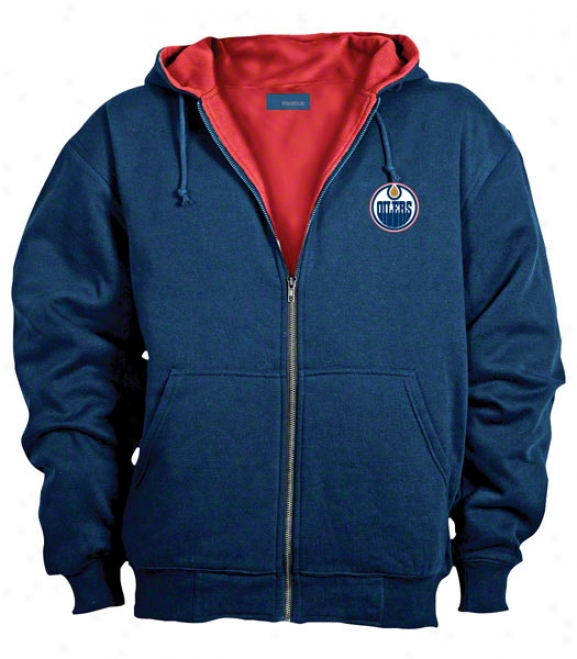 Edmonton Oilers Jacket: Blue Reebok Hooded Craftsman Jacket