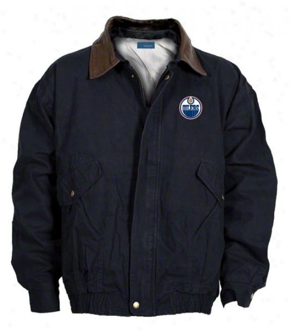 Edmonton Oilers Jacket: Navy Reebok Navigator Jacket