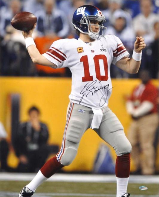 Eli Manning Autographed 16x20 Phoograph  Particulars: New York Giants, Super Bowl Xlvi