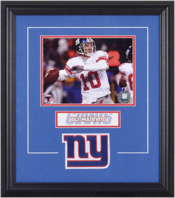 Eli Manning Framed 6x8 Photograph With Team Loyo & Plate