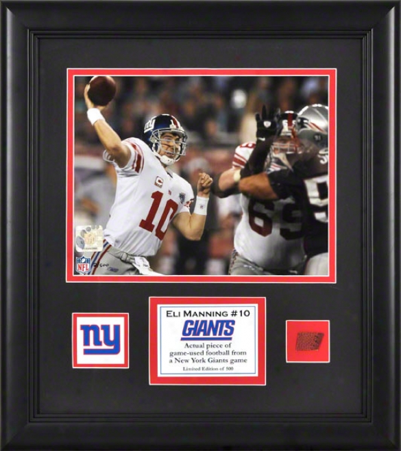 Eli Manning Framed 8x10 Photograph  Detai1s: Recent York Giants, With Game Used Football Piece And Descriptive Plate