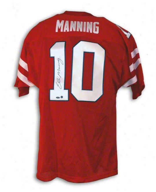 Eli Manning Mississippi Rebels Autographed Red Jersey