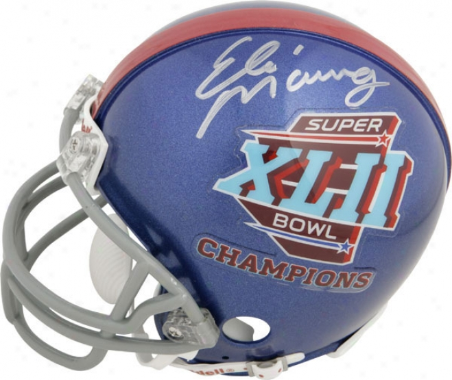 Eli Manning New York Giants Autographed Super Bowl Xlii Champions Mini Helmet