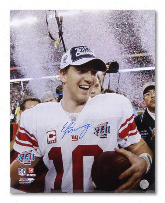 Eli Manning New York Giants - Super Bowl Confetti - Autographed 16x20 Phtograph