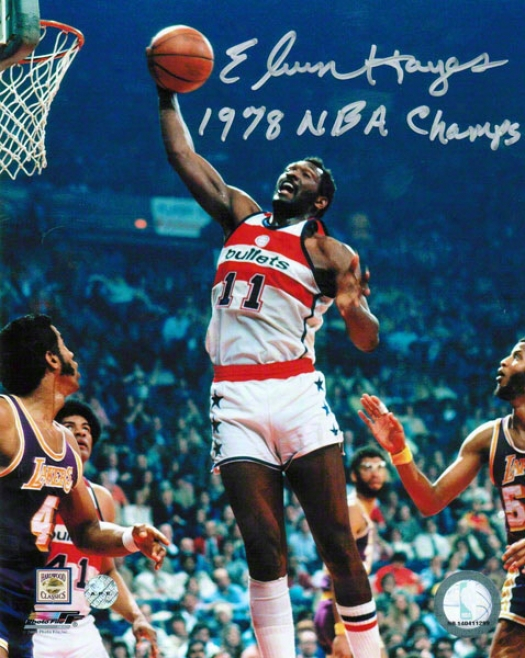 Elvin Hayes Washington Bullets Autographed 8x10 Photo Inscrribed 1978 Nba Champs