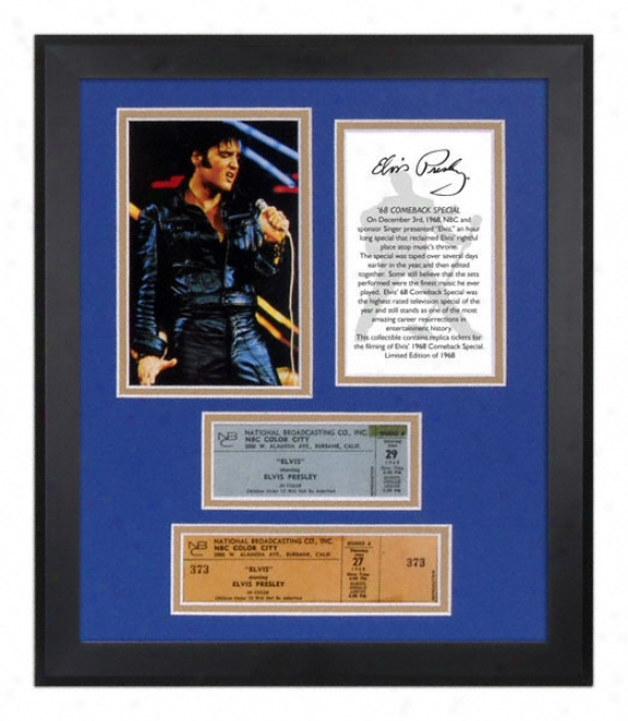 Elvis Presley - 1968 Coneback - Framed Photograph With Replica Ticket