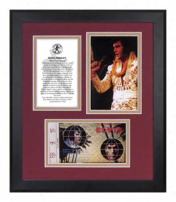 Elvis Presley - Aloha From Hawaii - Framed Photograph With Replica Ticket