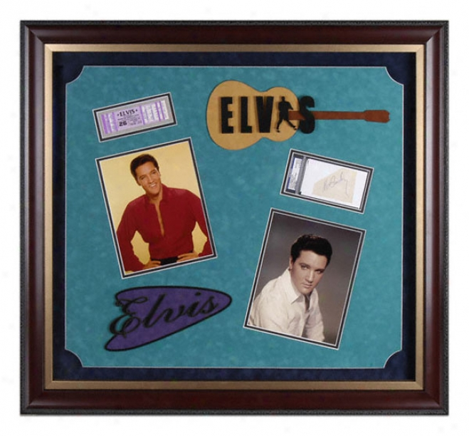 Elvis Presley Deluxe Framed Two 8x10 Photographs By the side of Autographed Cut And Logos