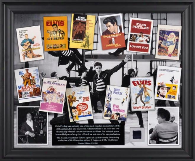 Elvis Presley Framed Collage  Details: Elvis In Hollywood, With Suit Piece