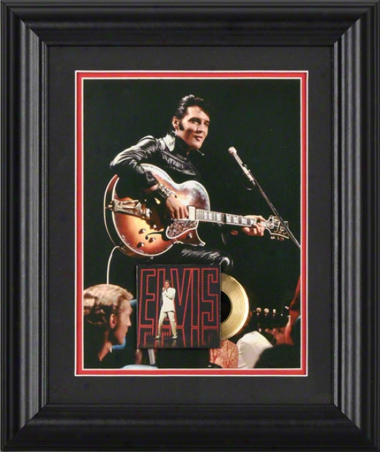 Elvis Presley Framed Photograph  Details: 6x8, 68 Special, Gold Record