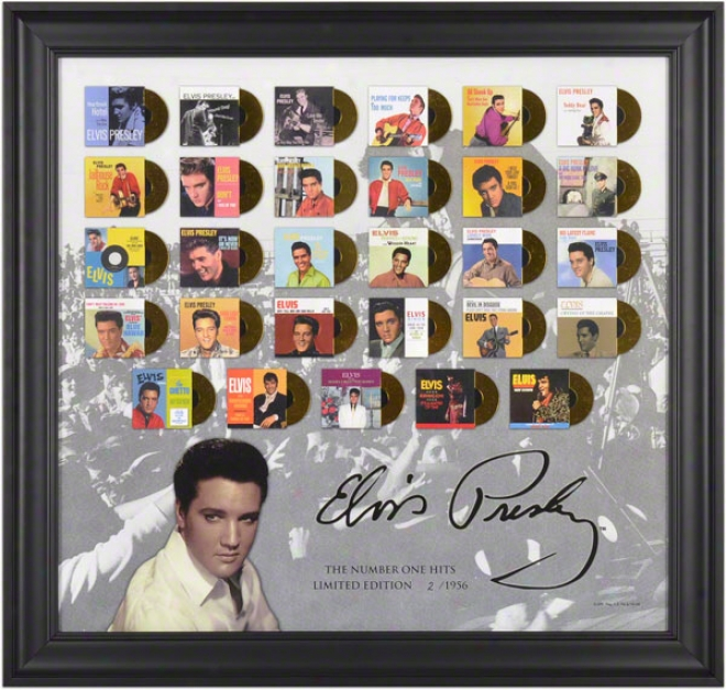 "Elvis Presley Framed Presentation  Details: â€å""the Number One Hitsã¢â'¬? With Miniature Gold Foil Records, Limuted Edition Of 1956"